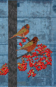 Meditative Digital Art - Quilted Birds on Tree by Kim Prowse