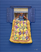 Hanging Laundry Posters - Quilted Showing Poster by Anne Klar