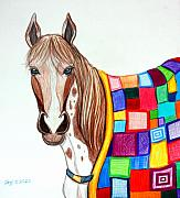 Horse Drawings - Quilted Stallion by Nick Gustafson
