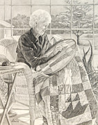 Quilt Drawings Posters - Quilting in the Sunroom Poster by Diane Bay