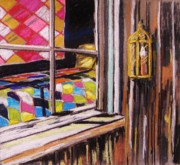 Vintage Pastels Originals - Quilts in the Window by John  Williams