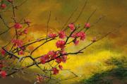 Quince Digital Art Prints - Quince and Spring in the Mountains Print by Jeff Burgess