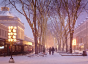 New England Winter Metal Prints - Quincy Market Stroll Metal Print by Susan Cole Kelly