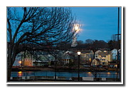 Winter Night Pyrography Metal Prints - Quinnipiac River Metal Print by Frank Garciarubio