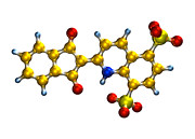 Standards Prints - Quinoline Yellow Food Colouring Molecule Print by Dr Mark J. Winter