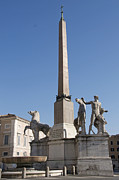 Figures Metal Prints - Quirinal Obelisk in front of Palazzo del Quirinale. Rome Metal Print by Bernard Jaubert