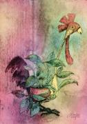 Quirky Rooster Planter Print by Arline Wagner