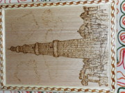 India Pyrography Metal Prints - Qutab Minar Metal Print by Vijay Sharma