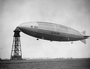 Air Traffic Control Tower Posters - R 101 Moored Poster by Fox Photos