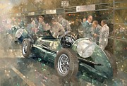 Standing Painting Framed Prints - R. Parnells Maserati  Framed Print by Peter Miller