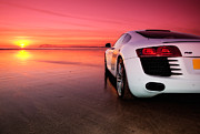 Four Wheel Drive Beach Posters - R8 on a beach - side view Poster by Rory Trappe