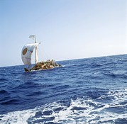 Papyrus Photos - Ra-2 Papyrus Boat In The Atlantic Ocean by Ria Novosti