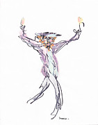 Religious Drawings Posters - Rabbi Dancing Poster by Michael Klein