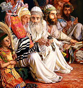 Rabbi Paintings - Rabbi Holding Torah in the Temple by William Holman Hunt