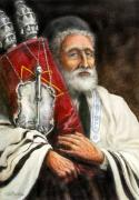 Synagogue Prints - Rabbi with Torah Print by Edward Farber