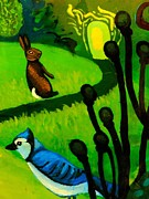 Imaginative Art Prints Framed Prints - Rabbit and Blue Jay Framed Print by Genevieve Esson