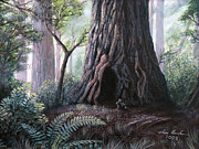 Bunny Paintings - Rabbit and the Redwood by Ian Henderson