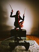 Drummer Metal Prints - Rabbit Ears Metal Print by Scott Sawyer