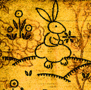 Easter Flowers Drawings Posters - Rabbit in Garden Poster by Myra  Gallicker