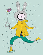 Rain Digital Art - Rabbit In Rain by Kristina Timmer