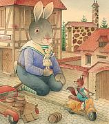 Town Drawings Originals - Rabbit Marcus the Great 03 by Kestutis Kasparavicius