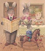 Rabbit Drawings - Rabbit Marcus the Great 09 by Kestutis Kasparavicius