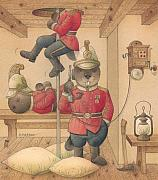 Fireman Drawings Posters - Rabbit Marcus the Great 14 Poster by Kestutis Kasparavicius