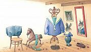 Mirror Drawings Framed Prints - Rabbit Marcus the Great 27 Framed Print by Kestutis Kasparavicius
