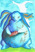 Postcard Painting Originals - Rabbit Postcard by Gyunai Pamuk