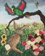 Suzanne Molleur Posters - Rabbit with Broken Leg Poster by Suzanne  Marie Leclair