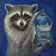 Raccoon Paintings - RACCOON - christmas star by Temenuga Ivanova