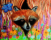 Raccoon Painting Posters - Raccoon and Butterfly Poster by Nick Gustafson