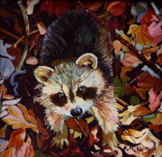 Kelly Drawings Posters - Raccoon Baby Poster by Kelly McNeil