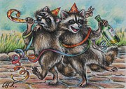 Animals Drawings - Raccoon buddies-after party by Christine Karron