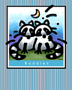 Raccoons Framed Prints - Raccoon Buddies Framed Print by Renee Womack