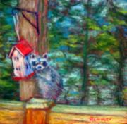 Woods Pastels - Raccoon Thief by Sandy Hemmer