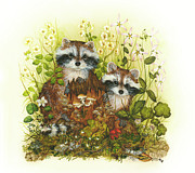Notecards Painting Prints - Raccoons  Print by Donna Genovese