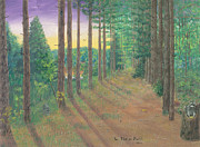 Raccoon Painting Posters - Raccoons on Bobs Trail Poster by Lori  Theim-Busch