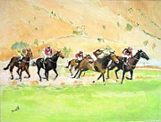 Horse Race Paintings - Race Against TIme by Judy Kay