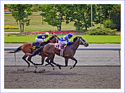 Sports Pyrography Originals - race at Woodbine Race Track Toronto Canada by Genadi Tchoulak