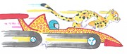Race Drawings Originals - Race Car and Cheetah Cartoon by Mike Jory