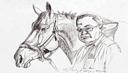Owner Drawings Posters - Race horse and owner Poster by Nancy Degan