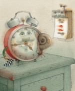 Clock Drawings - Race by Kestutis Kasparavicius