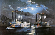 1860 Prints - Race On Mississippi, 1860 Print by Granger