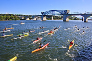 Tn River Prints - Race on the River Print by Tom and Pat Cory