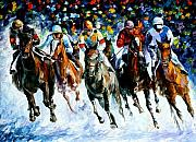 Jockey Paintings - Race on the snow by Leonid Afremov
