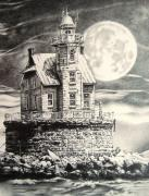 Haunted Drawings Posters - Race Rock Light House Poster by Michael Lee Summers