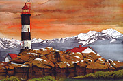 North Vancouver Mixed Media Posters - Race Rocks Lighthouse Poster by James Lyman
