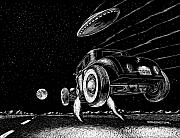 Kustom Prints - Race To The Moon Print by Bomonster