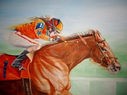 Jockey Paintings - Race Track Dreams by Julianna Wells